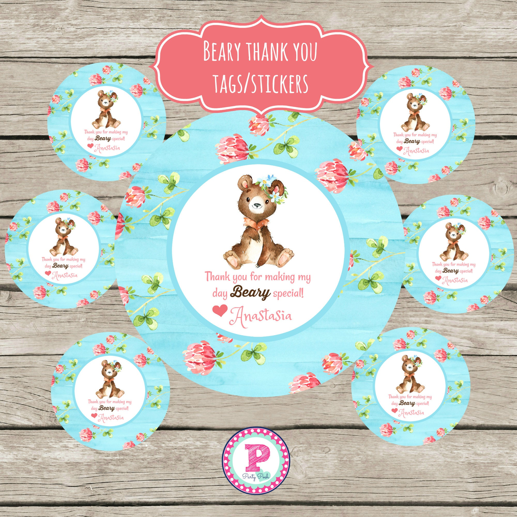 Teddy Bear Picnic Party Circle Stickers Party Labels Favor Tags ...