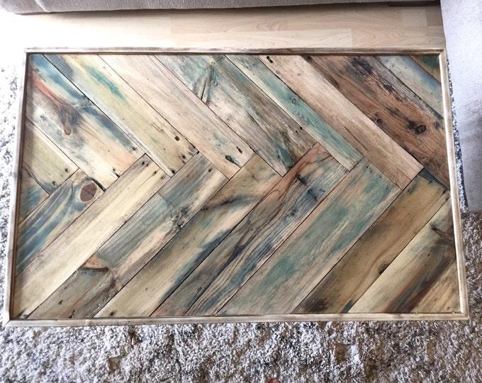 Featured listing image: Light Herringbone Reclaimed wood Livingroom coffee table w/ rose gold hairpin legs Mid century Modern Rustic