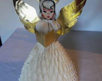 Vintage Christmas Angel Honeycomb Die Cut 10 Inches