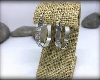 Organic Textured Sterling Silver Hoop Earrings