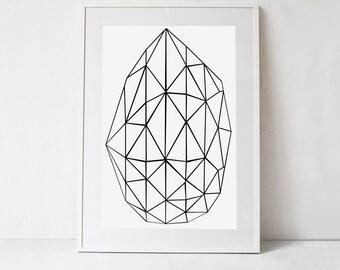 Digital Art Print, Black and White Geometric Print, Scandinavian Print, Geometric Art, Modern Minimalist Art DIGITAL DOWNLOAD PRINT 24x36