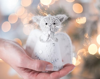 Christmas angel ornament Christmas animal decoration Knit cat doll animal decor Knitted kitten art doll Grey cat room decor Cat lover gift