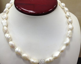 10 MM white baroque pearl Necklace