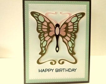 Butterfly Birthday Card, Delicate Die Cut Butterfly Happy Birthday Card, Happy Birthday Card