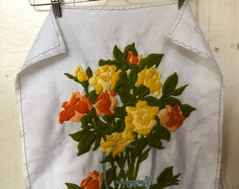 Vintage Unfinished Crewel Embroidered Cloth with Frayed Edges