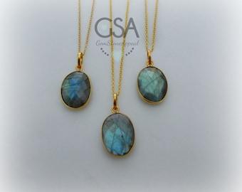 Labradorite Necklace//Gold Labradorite Necklace//Blue Flash Labradorite//Labradorite Flash Necklace Gold Chain//Genuine Labradorite Oval