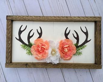 Antler Art, Antler Wall Art, Antler Painting, Antlers With Flowers, Boho Wall Art, Antler Wall Hanging, Woodland Decor, Rustic Nursery