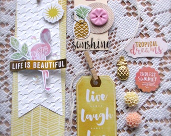 Tropical Tag, Bookmark and Embellishment Set | Set of 8 | Shipping Included