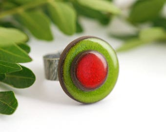 """Adjustable ring ceramic collection """"confetti"""" red green"""