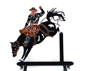Metal mail box top, metal rodeo cowboy, Metal rodeo horse, Bucking horse, Metal bucking bronco, Metal art outdoors, Metal decor Fathers day