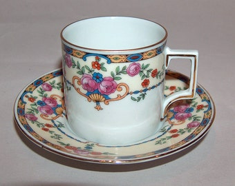 p7599: Vintage Czechoslovakia Warwick Excello Demitasse Cup and Saucer Set  Floral Pattern Beautiful Vintageway Furniture