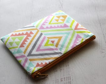 CLEARANCE - summer wallet - small make up bag - bohemian zipper pouch - coin purse - pouch