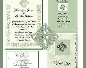 Digital Celtic Knot  Design Wedding  Invitation Package Editable Download