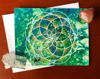 Tangerine Dream mandala greeting card
