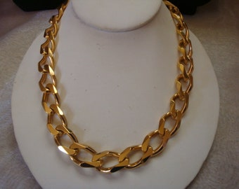 Vintage Christian Dior Chunky Curb Style Gold Tone Chain Necklace