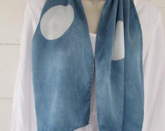 "Hand-dyed, indigo, itajimi shibori, full moon, silk charmeuse 19.5 mm scarf, 10"" x 58"""