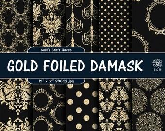 Black and Gold Foil Damask Digital Paper - gold shabby chic - gold damask - vintage - wedding papers - Commercial Use - Instant Download