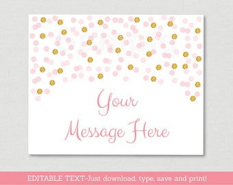 Blush Pink & Gold Baby Shower Welcome Sign / Glitter Baby Shower / Glitter Confetti / Table Sign / Instant Download Editable PDF A161