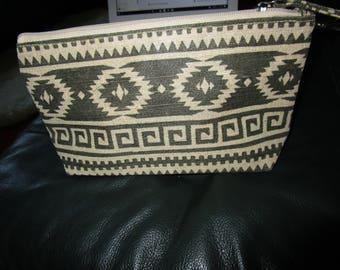 Dark Gray & Beige Southwestern Design Zippered Makeup/Travel Bag/Clutch