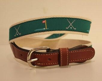 Golf Ribbon  Men's Web Leather Belt