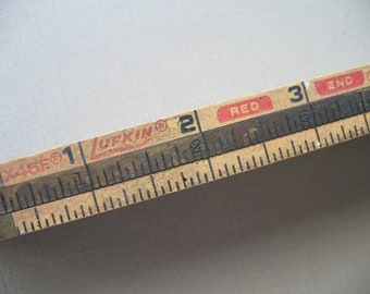 Lufkin Red End Ridgid Folding Wood Ruler Zig-Zag Ruler Carpenter Tool Tool Collector Display Piece, Ruler, Folding Wood Ruler