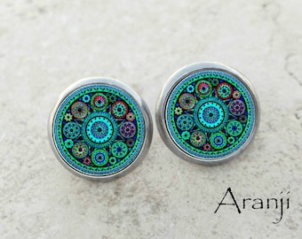 Turquoise mandala earrings, teal mandala earrings, blue earrings, turquoise kaleidoscope stud earrings, teal kaleidoscope earrings PA144E