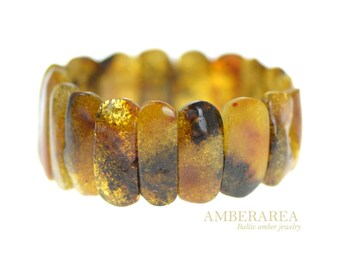 Amber bracelet. Baltic sea amber jewelry from Amberarea store. Green amber color. Natural. 琥珀手链. 2075