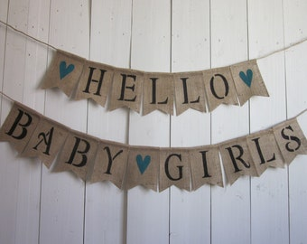 Twin Girls Banner - Girl Twins Baby Shower Bunting - Hello Baby Girls Garland - Twin Girls Shower Decor - Twins Photo Prop Burlap Sign