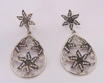 Silver Plated Earrings - Cubic Zirconia Earrings - Oxidised Earrings - Designer Earrings - Post Earrings - Fashion Earring- Wedding Earrings