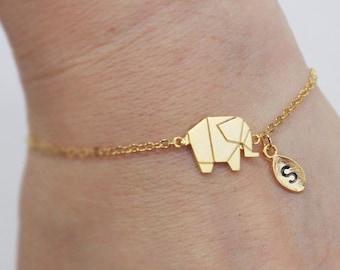 Elephant bracelet, Personalized bracelet, initial bracelet, Personalized Jewelry, friendship bracelet,animal
