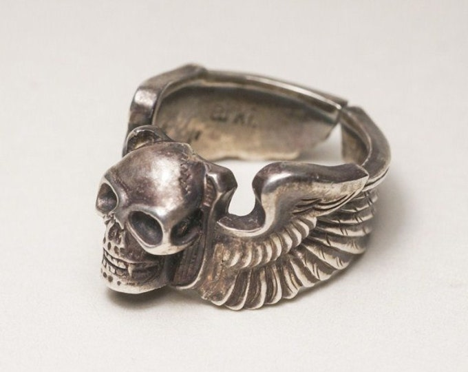 Silver Skull Ring | Skull Jewelry | Silver Wings Ring | Gothic Ring | Silver Engraved Ring | Human Skull Ring | Aviator Ring | Biker Ring