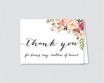 Printable Matron of Honor Thank You Cards - Pink Floral Thank You for Being My Matron of Honor Card, Bridal Thank You - Rustic Flowers 0004