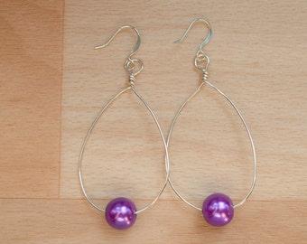 Silver Teardrop Earrings - Statement Jewelry - Wire Hoop Earrings - Wedding Jewelry - Big Hoop Earrings - Bridesmaid Gift