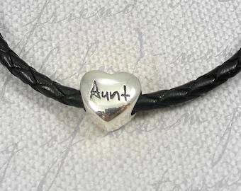 Aunt European Bead Charm - Sterling Silver Aunt Large Hole Bead for European Bracelet