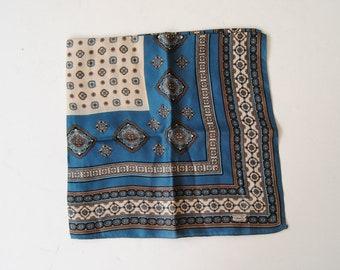 Liberty of London Square Silk Scarf Pocket Square Blue Paisley
