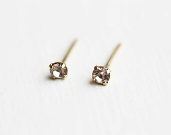 Crystal Studs Gold, Tiny Crystal Studs, Clear Crystal Studs, Small Crystal Studs, Crystal Earrings, Second Hole Studs, Small Gold Studs