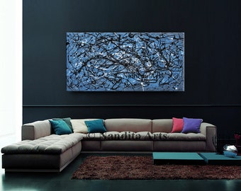 ORIGINAL Painting, Navy Blue and Gray Painting Abstract Painting, Blue Painting Handmade, Blue and White Art, Modern Wall Decor 48 x 24