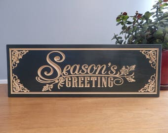 Seasons Greetings Holiday Script Wooden Carved Painted Sign