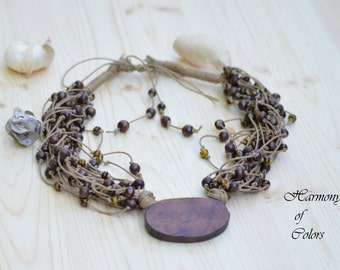 Rustic Cotton Necklace - Wood Bead Necklace - Eco Friendly Multi Strand Necklace - Natural Cotton Necklace