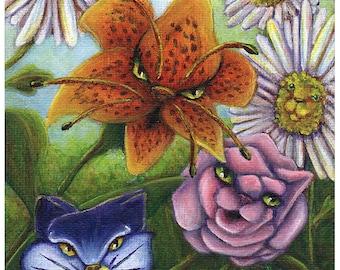 Flower Cats, Fantasy Art Alice in Wonderland Through the Looking Glass Garden