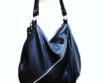 Large Black Leather Bucket Bag with Tassel horse shoe shaped shoulder tote purse