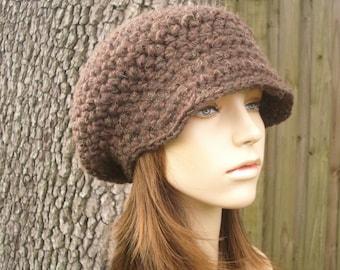 Brown Womens Hat Brown Newsboy Hat - Crochet Newsboy Hat Wood Brown Crochet Hat - Brown Hat Brown Beanie Womens Accessories Winter Hat