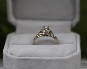 Vintage Cathedral Style Diamond Engagement Ring 1960s Filigree Handmade ATL #200