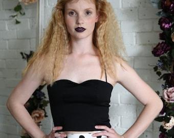 Black bustier / Black crop top / Sweetheart neckline bodice