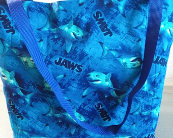 Jaw's The Great White Shark, Reusable Farmers Market / Grocery / Shopping Bag / Tote