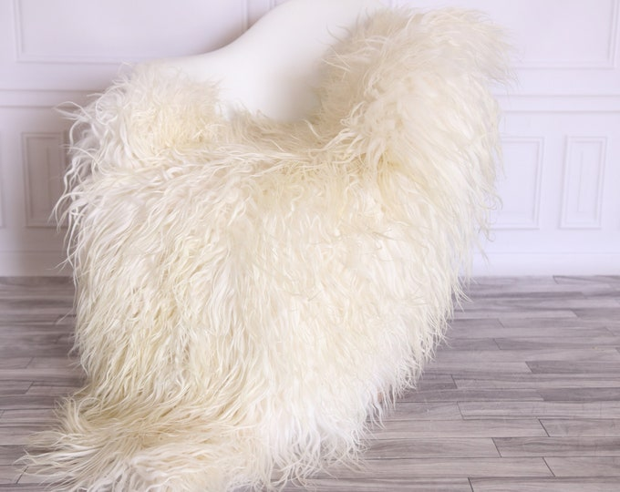 Sheepskin Rug Genuine | Curly Sheepskin Rug | Curly Iceland Sheepskin | Creamy Sheepskin | Sheepskin Throw | Sheepskin Pelt