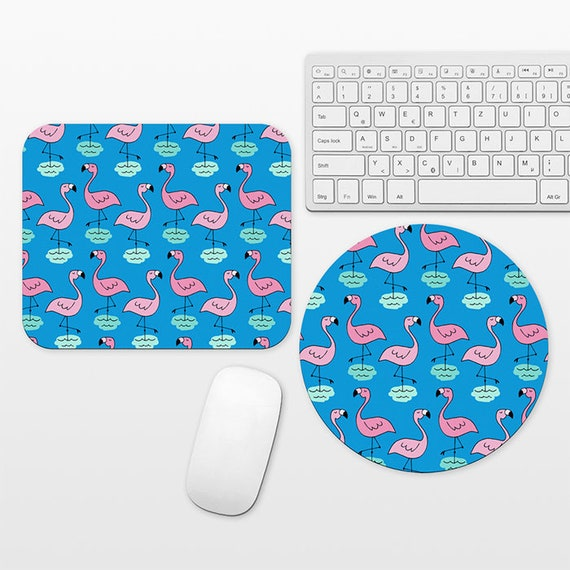 Pink Flamingo Mouse Pad Tropical Mousepad Blue Mouse Pad Cute Mouse Pad for Women Mouse Mat for Desk Office Computer Laptop Round Rectangle