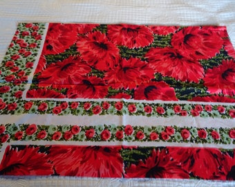 vintage red roses cotton