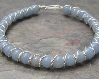 Angelite Beaded Sterling Silver Wire Wrapped Bracelet