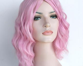 Pink wavy wig. Pink shoulder length hair. Ready to ship.